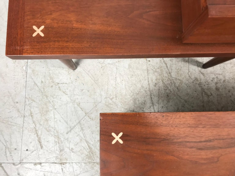 Set 3 of Vintage American of Martinsville Tables with Aluminum Inlays For Sale 2
