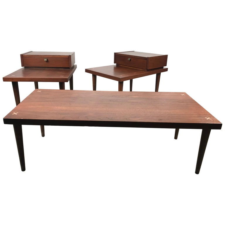 Set 3 of Vintage American of Martinsville Tables with Aluminum Inlays For Sale