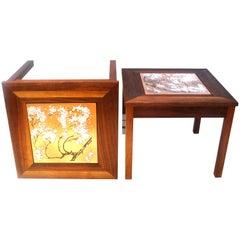 Set 3 Solid Walnut Enameled End Tables Designed by Jhon Keal for Brown Saltman