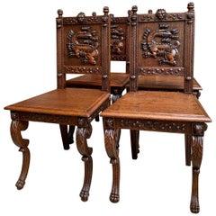 Set 4 Antique French Carved Oak Dining Chair Renaissance Dragon Lion Gothic