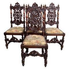 Set 4 Antique French Carved Oak Dining Side Chair Louis XIV Renaissance Tall