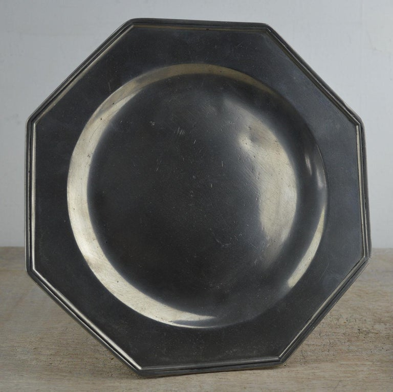 Georgian Set 4 Antique Octagonal Polished Pewter Plates, English, 18th Century