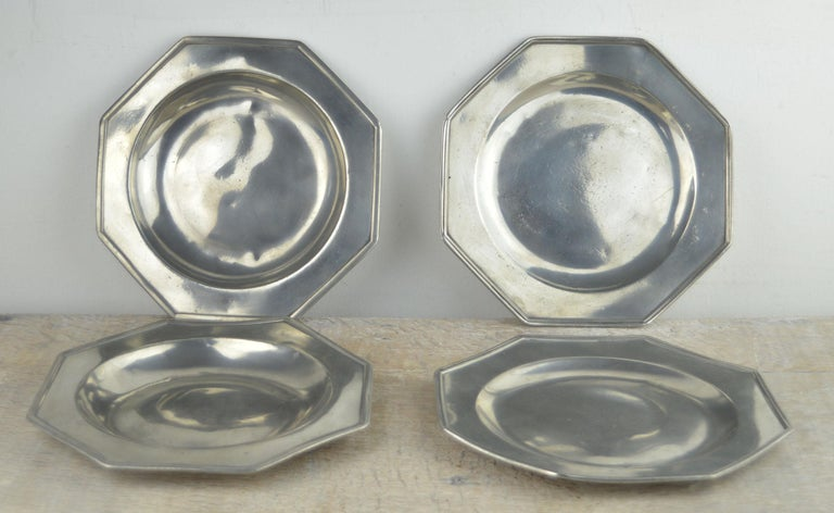 Set 4 Antique Octagonal Polished Pewter Plates, English, 18th Century 2
