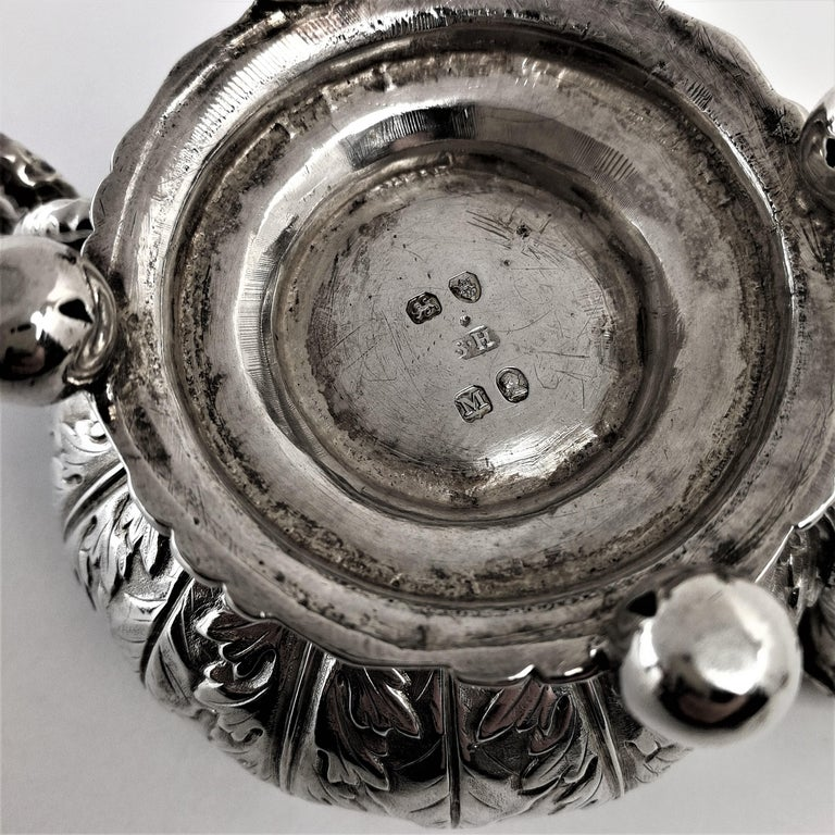 Set 4 Antique Sterling Silver Salts & Spoons / Salt Pinch Pots 1808/9 George III For Sale 6