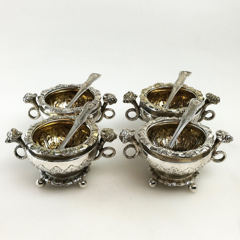English Set 4 Antique Sterling Silver Salts & Spoons / Salt Pinch Pots 1808/9 George III For Sale