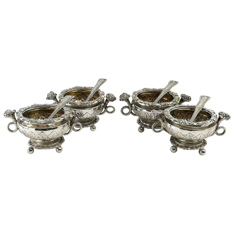 Set 4 Antique Sterling Silver Salts & Spoons / Salt Pinch Pots 1808/9 George III