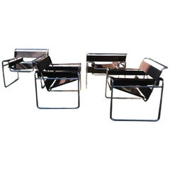 Set 4 Early Knoll International Wassily Chairs by Marcel Breuer