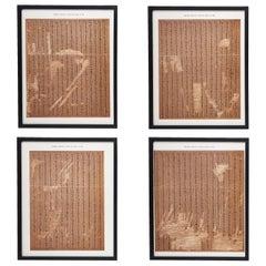 Set 4 Framed Prints of Ancient Egyptian Hieroglyphs, British Museum, circa 1886