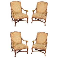 Set 4 French Paint Decorated Giltwood Rams Head Armchairs Dining Office Chairs