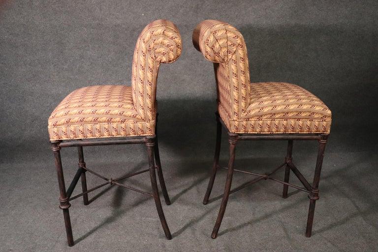 Set 4 Hollywood Regency Iron Base Upholstered Bar Stools For Sale 4