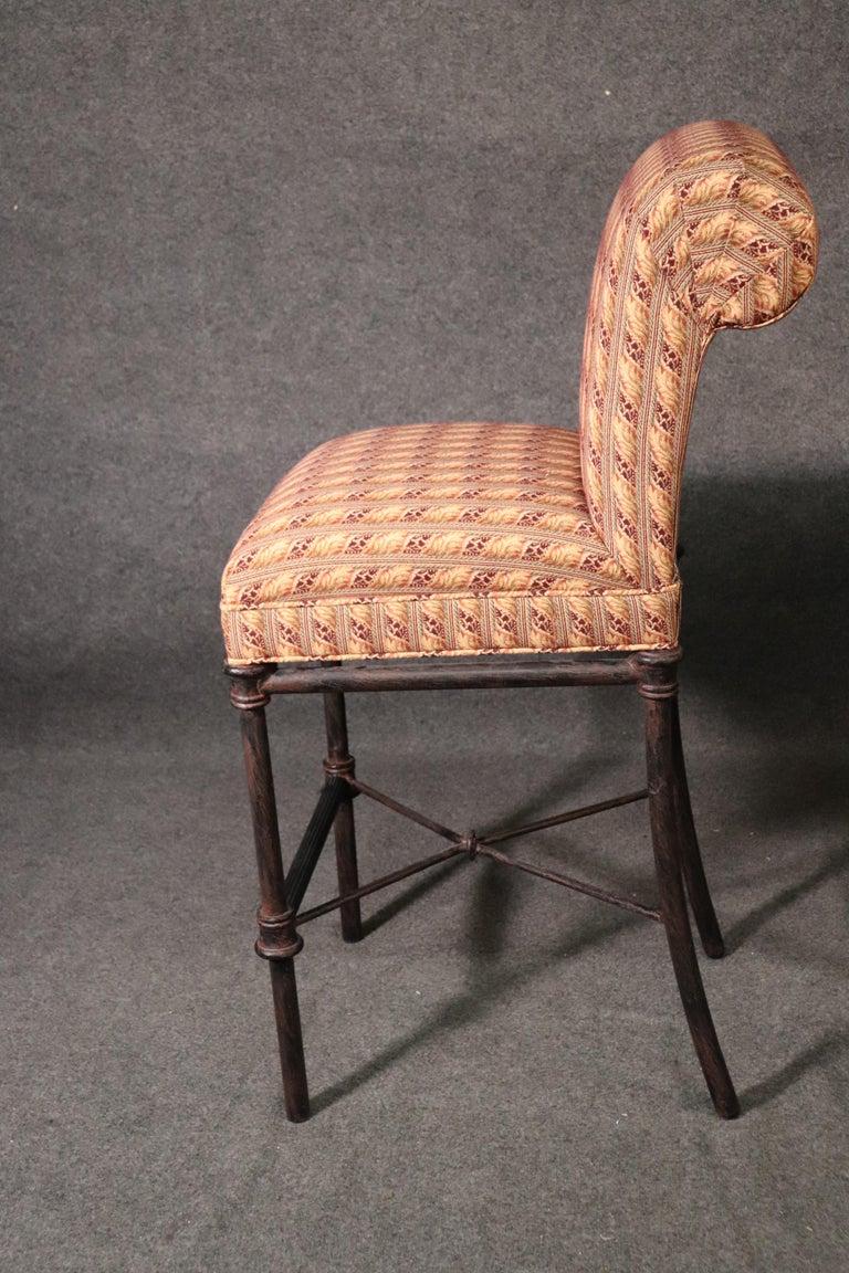 Set 4 Hollywood Regency Iron Base Upholstered Bar Stools For Sale 5