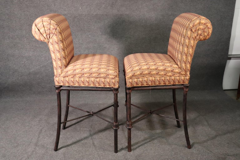 Late 20th Century Set 4 Hollywood Regency Iron Base Upholstered Bar Stools For Sale