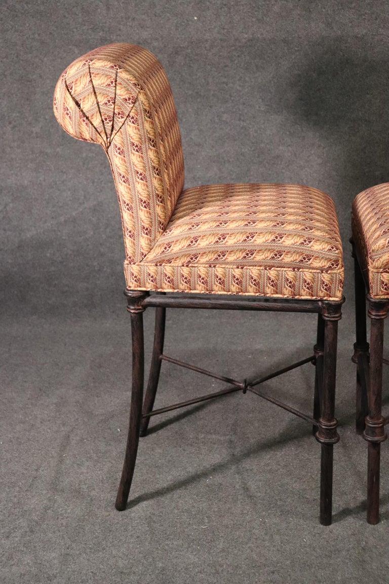 Wrought Iron Set 4 Hollywood Regency Iron Base Upholstered Bar Stools For Sale