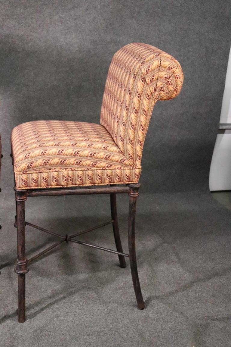 Set 4 Hollywood Regency Iron Base Upholstered Bar Stools For Sale 1