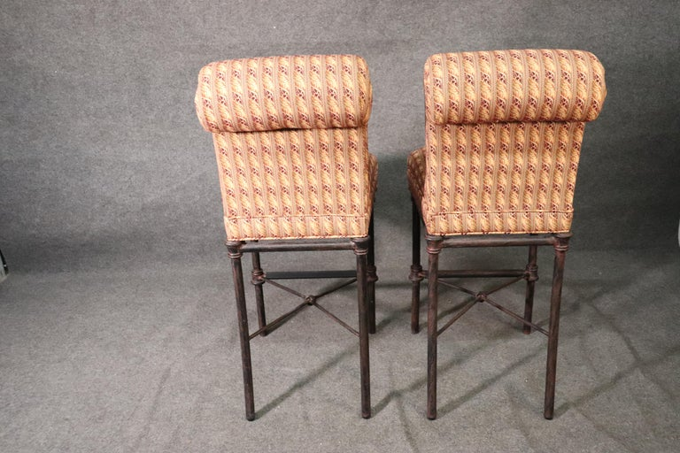 Set 4 Hollywood Regency Iron Base Upholstered Bar Stools For Sale 3