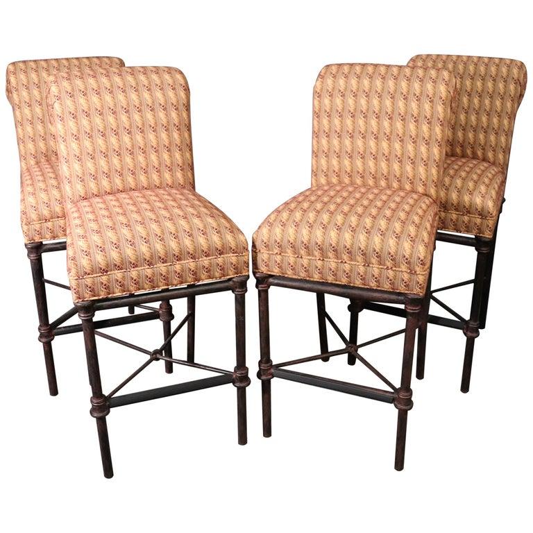 Set 4 Hollywood Regency Iron Base Upholstered Bar Stools For Sale