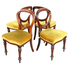 Set of Four 19th Century Wood Dining Chairs in Yellow Velvet Round Open Back