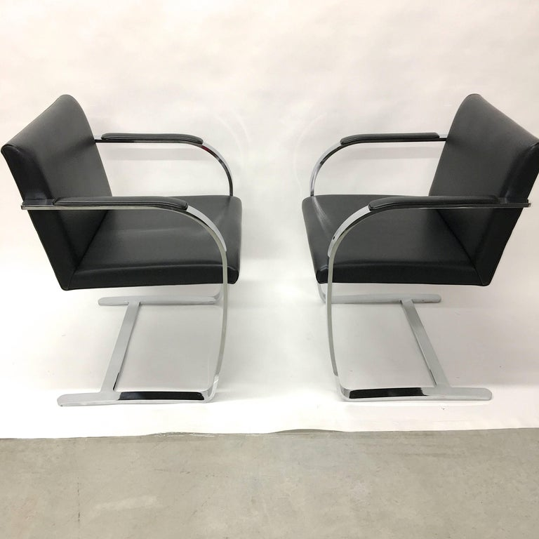 Set Four Mies Van Der Rohe for Knoll Brno Chairs Black Leather Flat Bar Chrome For Sale 4