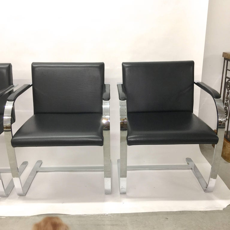 Bauhaus Set Four Mies Van Der Rohe for Knoll Brno Chairs Black Leather Flat Bar Chrome For Sale