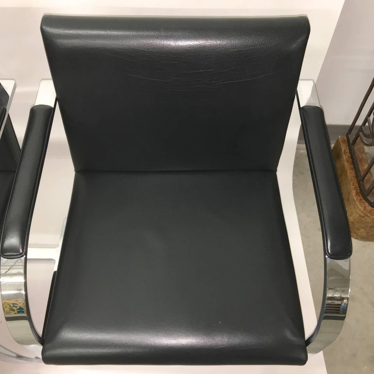 American Set Four Mies Van Der Rohe for Knoll Brno Chairs Black Leather Flat Bar Chrome For Sale