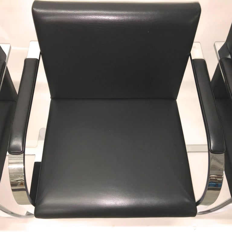 Set Four Mies Van Der Rohe for Knoll Brno Chairs Black Leather Flat Bar Chrome In Excellent Condition For Sale In Hingham, MA