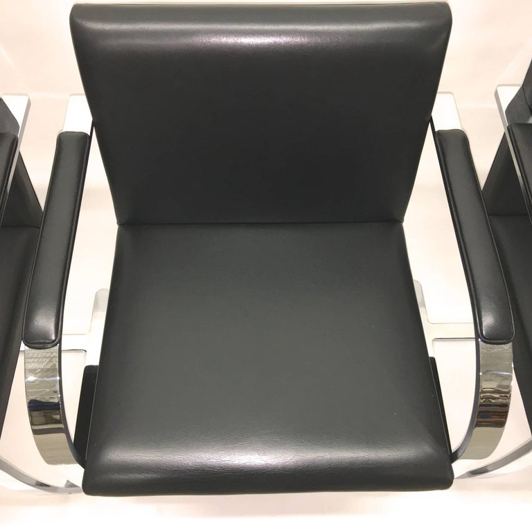 Mid-20th Century Set Four Mies Van Der Rohe for Knoll Brno Chairs Black Leather Flat Bar Chrome For Sale