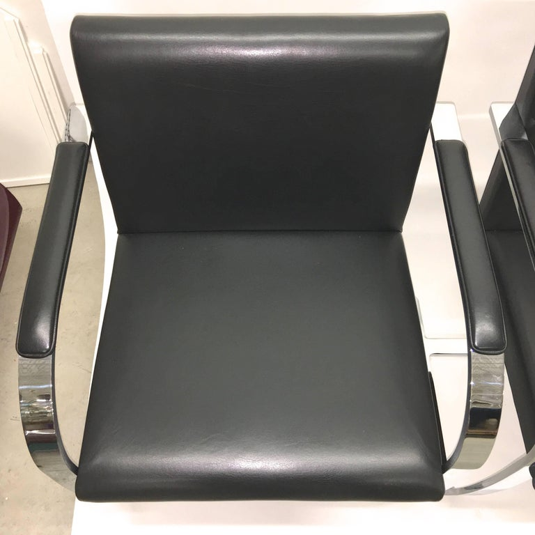 Set Four Mies Van Der Rohe for Knoll Brno Chairs Black Leather Flat Bar Chrome For Sale 1