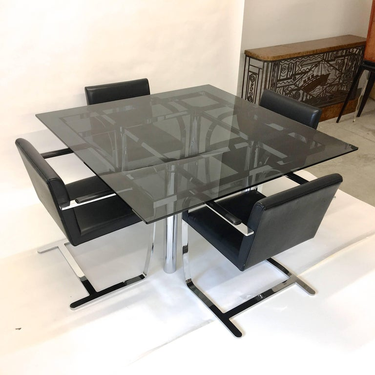 Set Four Mies Van Der Rohe for Knoll Brno Chairs Black Leather Flat Bar Chrome For Sale 2