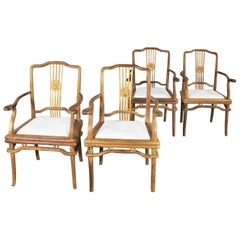 Set 4 Natural Teak Indonesian Ming Style Dining Armed Chairs Upholstered Seats