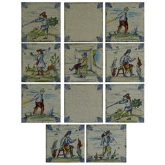 Set of Eleven Ceramic Wall Tiles Square by Servais of Germany Set 4, circa 1950