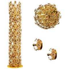 Set 4 of Gold-Plated Flower Crystal Light Fixtures by Palwa, 1960s