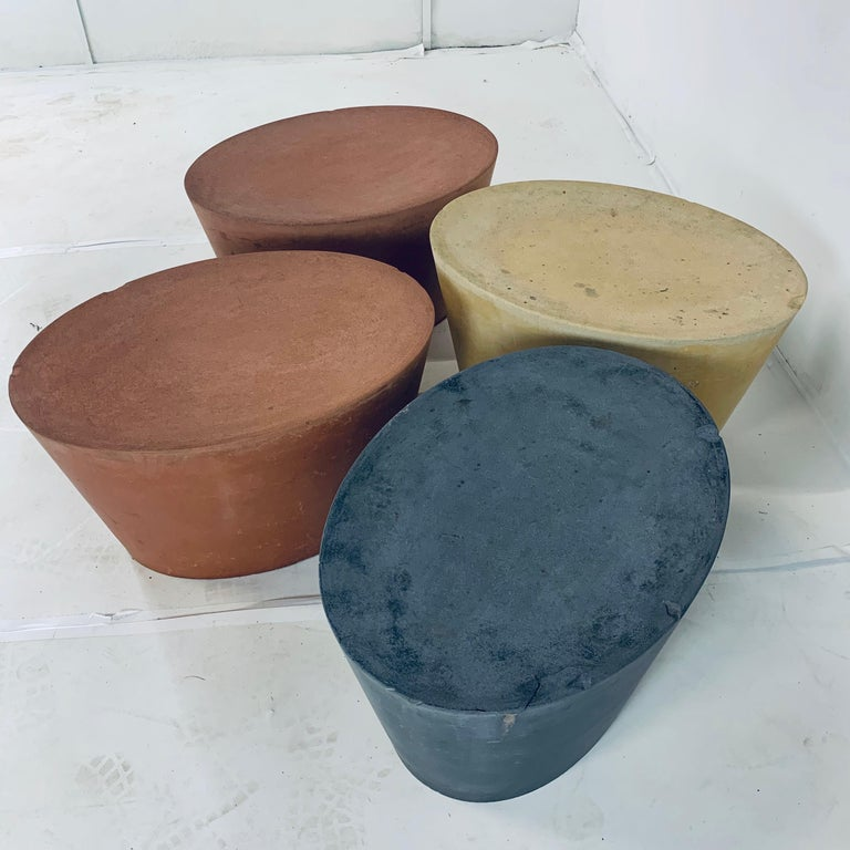 Set 4 Original & Rare Maya Lin for Knoll Studio Concrete Stone Stools All Colors For Sale 4