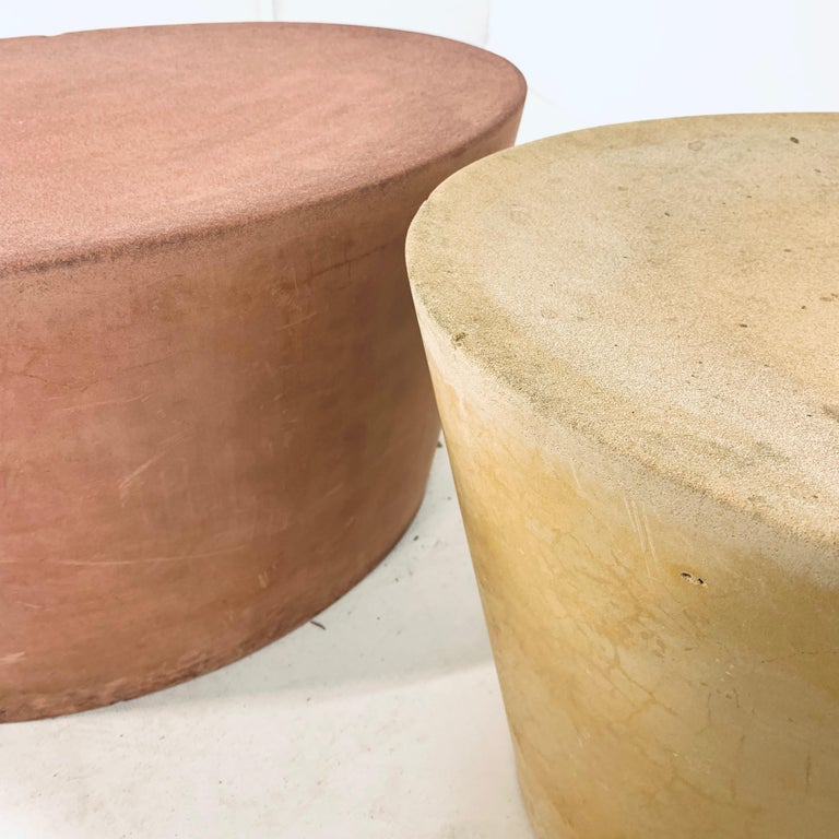 Set 4 Original & Rare Maya Lin for Knoll Studio Concrete Stone Stools All Colors For Sale 8