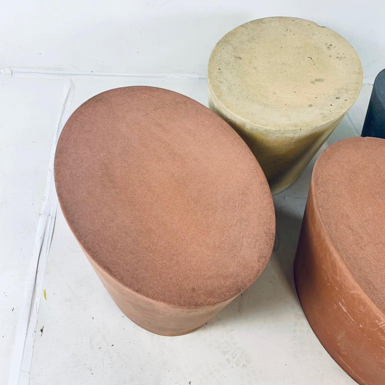 Set 4 Original & Rare Maya Lin for Knoll Studio Concrete Stone Stools All Colors In Good Condition For Sale In Hudson, NY