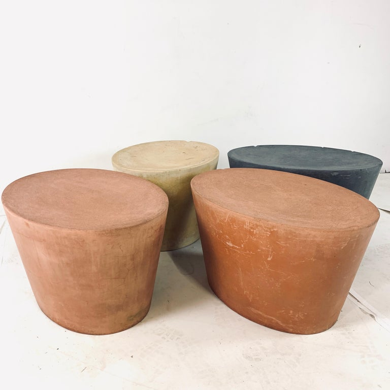 Contemporary Set 4 Original & Rare Maya Lin for Knoll Studio Concrete Stone Stools All Colors For Sale