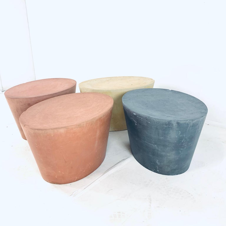 Set 4 Original & Rare Maya Lin for Knoll Studio Concrete Stone Stools All Colors For Sale 3
