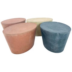 Set 4 Original & Rare Maya Lin for Knoll Studio Concrete Stone Stools All Colors