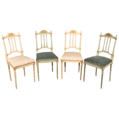 Set of 4 Painted and Gilded Petite French Louis XV Parlor Vanity Chairs