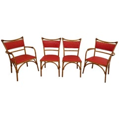 Set of 4 Rattan and Ash Dining Chairs by Heywood Wakefield