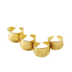 Set 4 rings - Giulia Barela 24carat Gold plated bronze Four Leaves Ring