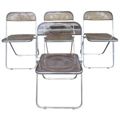Set 4 Smoked Lucite Folding Chairs, Italy, 1960s, Castelli Mid-Century Modern