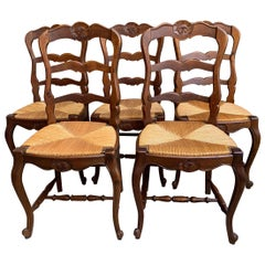 Set of 5 Antique French Country Carved Oak Ladder Back Dining Chair Rush Seat