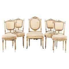 Set 5 French Chairs Louis XV Style 19th Century