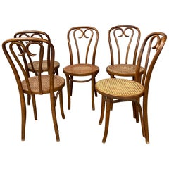 Set '5' Thonet Bentwood Cafe Bistro Dining Chairs, Caned Seats