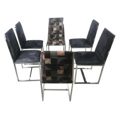 Set 6 1970s Chrome and Suede Dining Chairs Milo Baughman Style