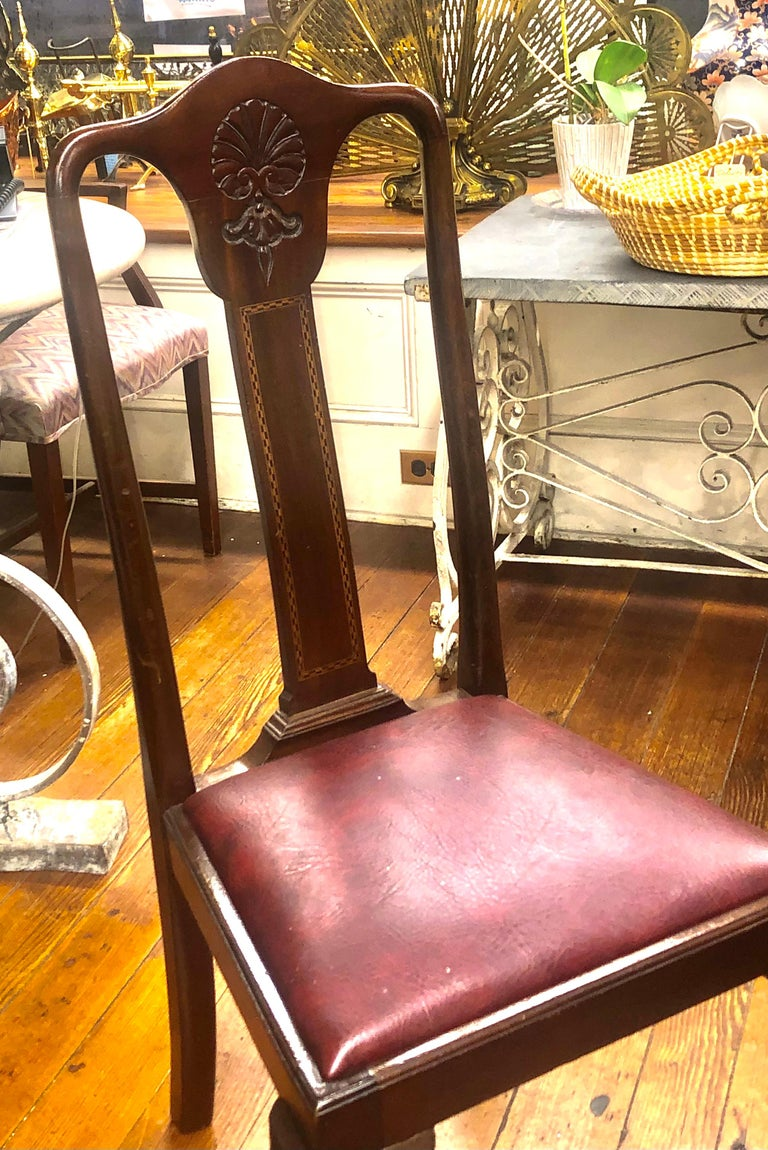 Set 6 '4+2' Antique English Inlaid Mahogany Queen Anne Style Dining Chairs For Sale 5