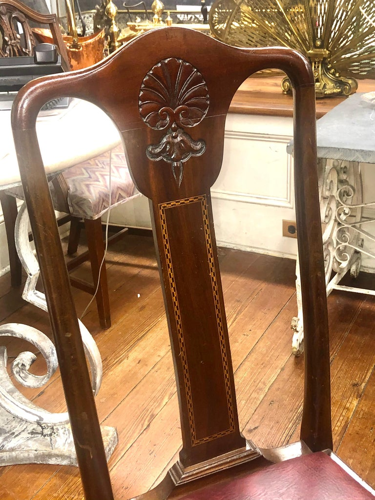Set 6 '4+2' Antique English Inlaid Mahogany Queen Anne Style Dining Chairs For Sale 6
