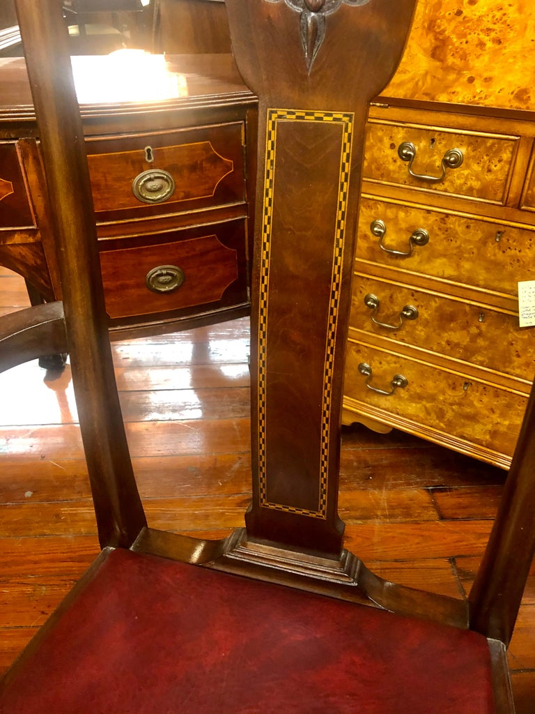 Hand-Crafted Set 6 '4+2' Antique English Inlaid Mahogany Queen Anne Style Dining Chairs For Sale