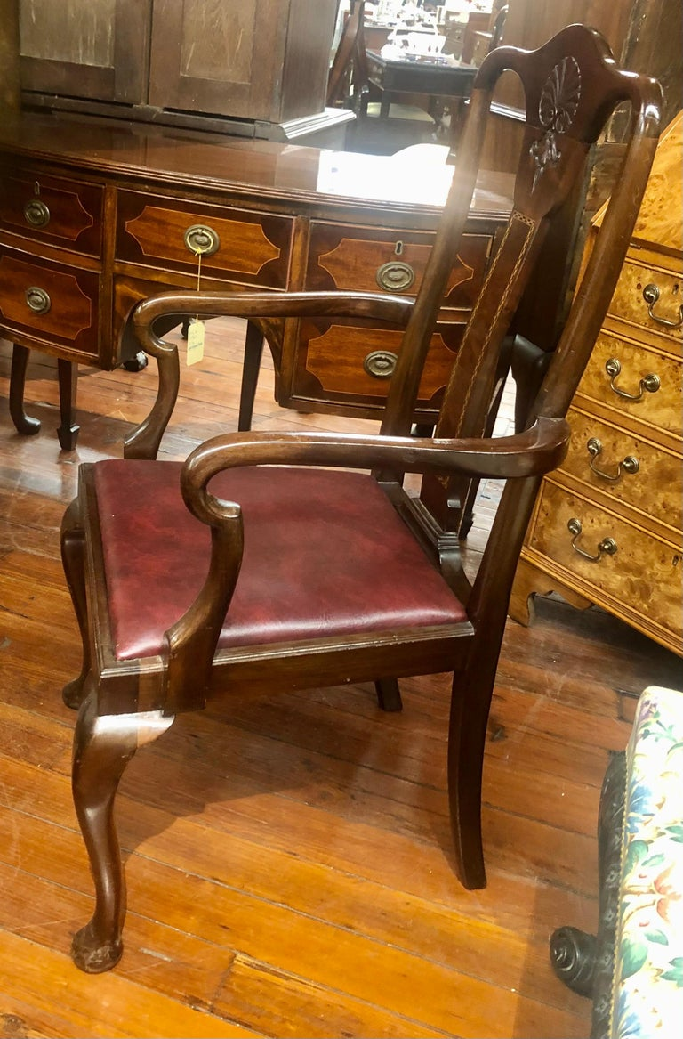 Set 6 '4+2' Antique English Inlaid Mahogany Queen Anne Style Dining Chairs For Sale 1