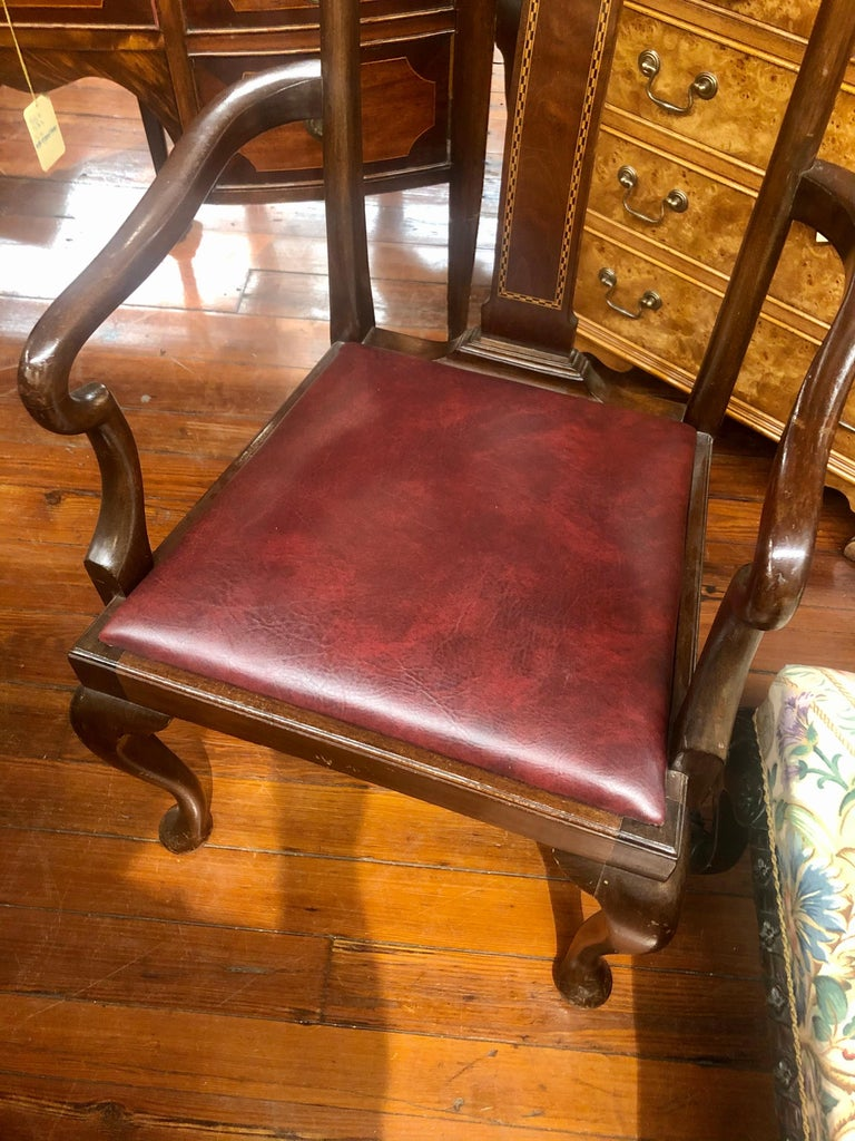 Set 6 '4+2' Antique English Inlaid Mahogany Queen Anne Style Dining Chairs For Sale 2